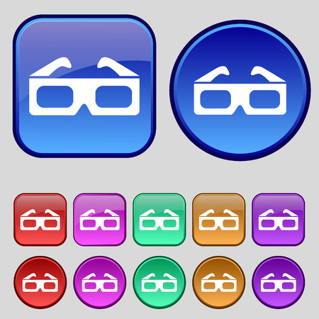 stereoscope: 3d glasses icon sign. A set of twelve vintage buttons for your design. Vector illustration Illustration