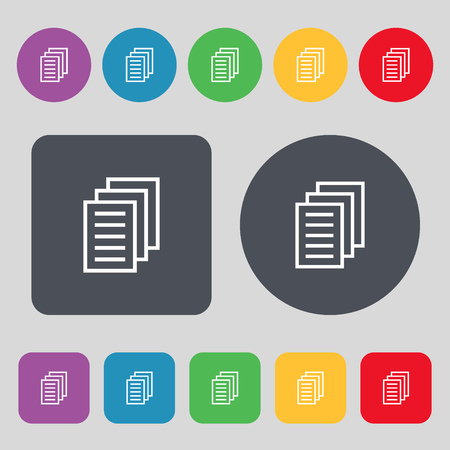 duplicate: Copy file, Duplicate document icon sign. A set of 12 colored buttons. Flat design. Vector illustration