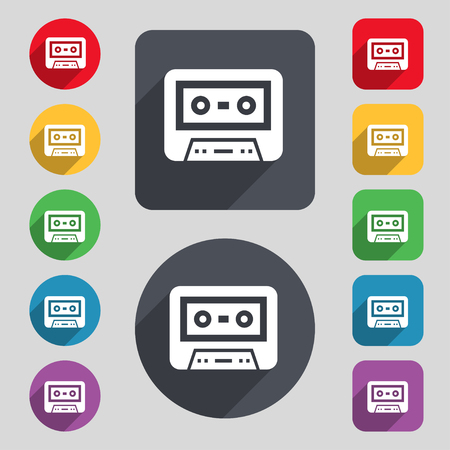 electronic 80s: audiocassette icon sign. A set of 12 colored buttons and a long shadow. Flat design. Vector illustration