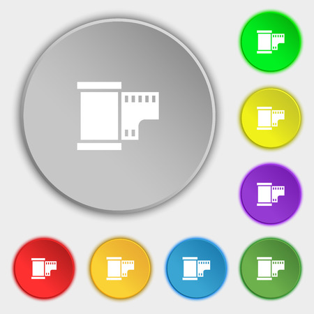 processed: 35 mm negative films icon sign. Symbol on eight flat buttons. Vector illustration