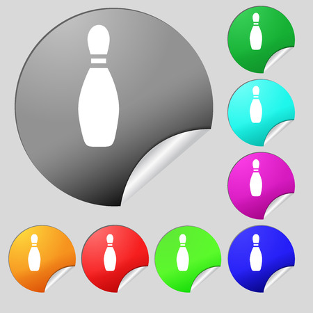 pin bowling icon sign. Set of eight multi colored round buttons, stickers. Vector illustration