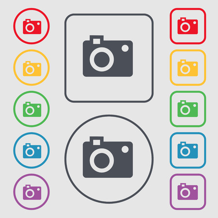 capturing: camera  icon sign. symbol on the Round and square buttons with frame. Vector illustration