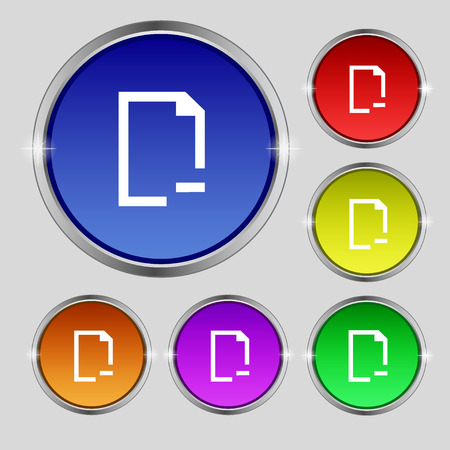 archive site: Remove Folder icon sign. Round symbol on bright colourful buttons. Vector illustration