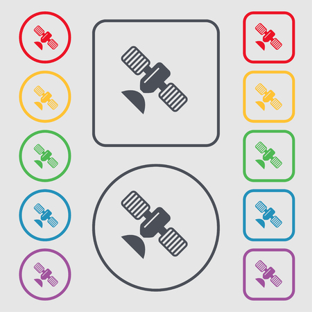 space antenna: satellite icon sign. symbol on the Round and square buttons with frame. Vector illustration Illustration
