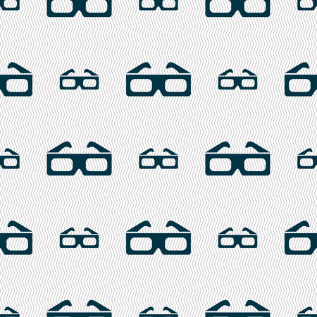 anaglyph: 3d glasses icon sign. Seamless pattern with geometric texture. Vector illustration