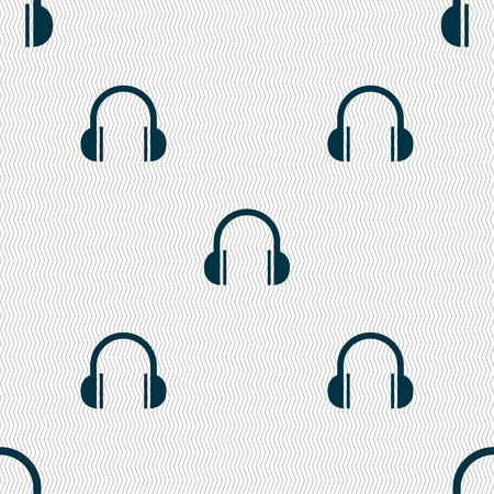 ear phones: headphones icon sign. Seamless pattern with geometric texture. Vector illustration