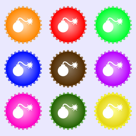 aggression: bomb icon sign. A set of nine different colored labels. Vector illustration Illustration