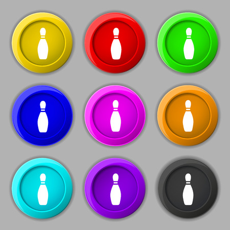 pin bowling icon sign. symbol on nine round colourful buttons. Vector illustration Фото со стока - 50044723