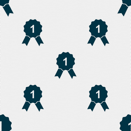 champ: award medal icon sign. Seamless pattern with geometric texture. Vector illustration Illustration