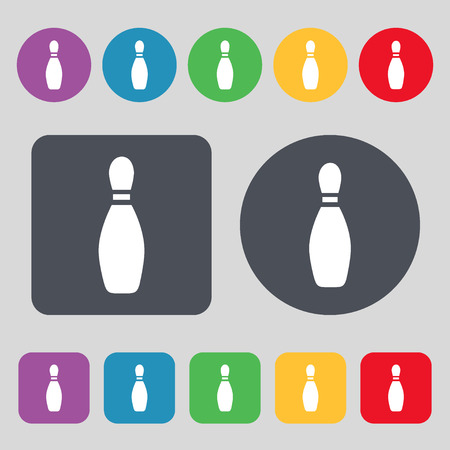 pin bowling icon sign. A set of 12 colored buttons. Flat design. Vector illustration Фото со стока - 50042058