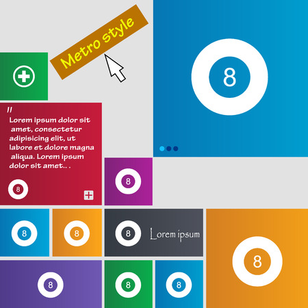 eightball: Eightball, Billiards  icon sign. buttons. Modern interface website buttons with cursor pointer. Vector illustration