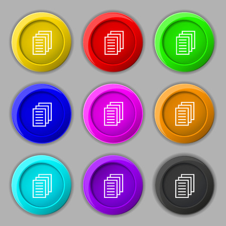 duplicate: Copy file, Duplicate document icon sign. symbol on nine round colourful buttons. Vector illustration