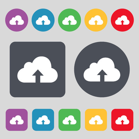 protected database: Backup icon sign. A set of 12 colored buttons. Flat design. Vector illustration