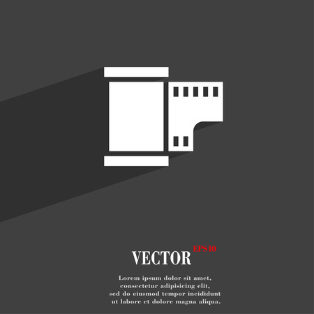 exposed: 35 mm negative films symbol Flat modern web design with long shadow and space for your text. Vector illustration