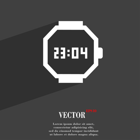 straps: wristwatch symbol Flat modern web design with long shadow and space for your text. Vector illustration