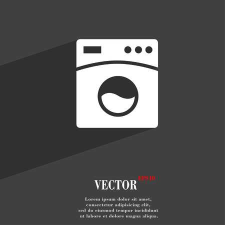 washhouse: Washing machine symbol Flat modern web design with long shadow and space for your text. Vector illustration