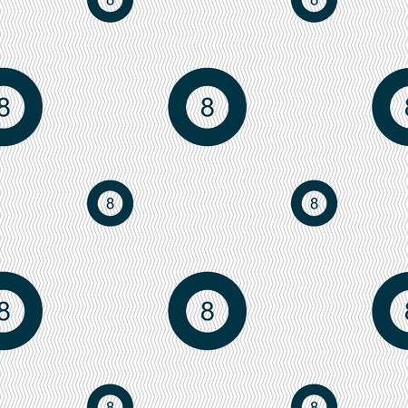 Eightball, Billiards  icon sign. Seamless pattern with geometric texture. Vector illustration Vettoriali