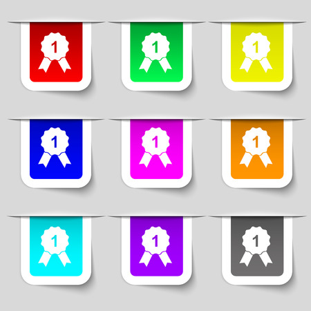 champ: award medal icon sign. Set of multicolored modern labels for your design. Vector illustration