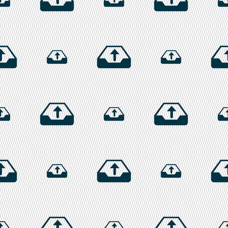 archiving: Backup icon sign. Seamless pattern with geometric texture. Vector illustration Illustration