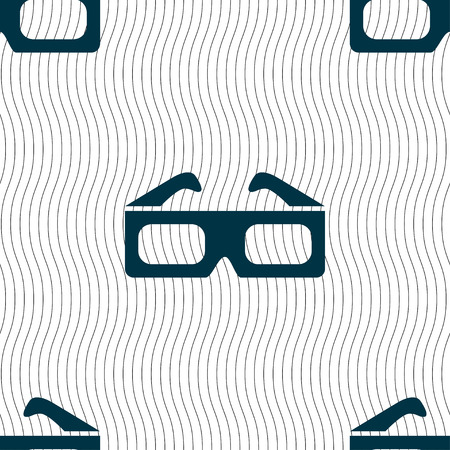 stereoscope: 3d glasses icon sign. Seamless pattern with geometric texture. Vector illustration