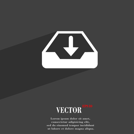 archiving: Restore symbol Flat modern web design with long shadow and space for your text. Vector illustration