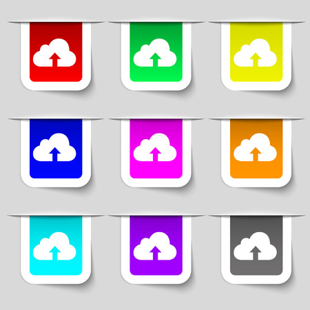 protected database: Backup icon sign. Set of multicolored modern labels for your design. Vector illustration