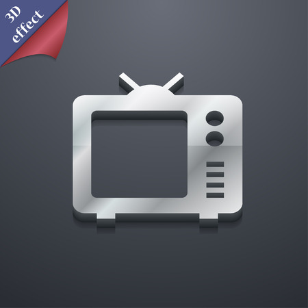 space television: Old TV, Television icon symbol. 3D style. Trendy, modern design with space for your text Vector illustration