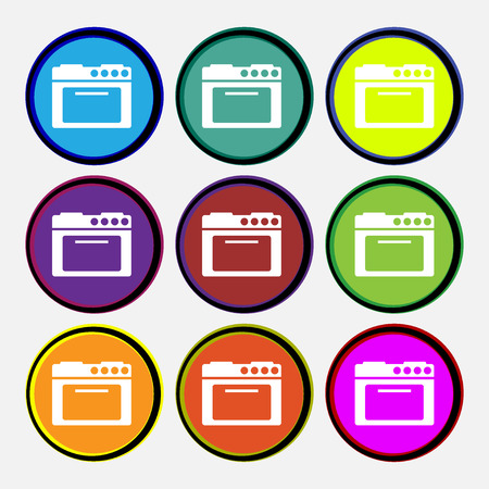 kitchen stove: kitchen stove icon sign. Nine multi colored round buttons. Vector illustration