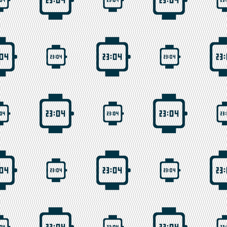 straps: wristwatch icon sign. Seamless pattern with geometric texture. Vector illustration Illustration