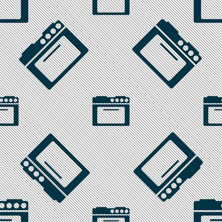 kitchen stove: kitchen stove icon sign. Seamless pattern with geometric texture. Vector illustration Illustration