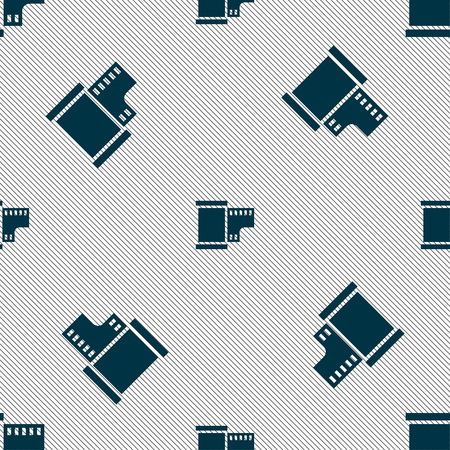 exposed: 35 mm negative films icon sign. Seamless pattern with geometric texture. Vector illustration Illustration