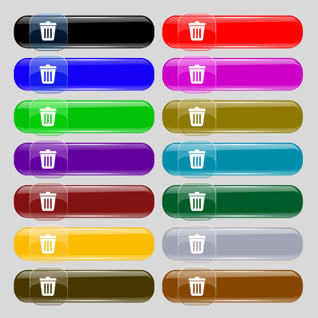 sewage: Bin  icon sign. Set from fourteen multi-colored glass buttons with place for text. Vector illustration