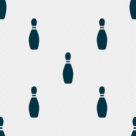 pin bowling icon sign. Seamless pattern with geometric texture. Vector illustration