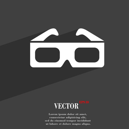 stereoscope: 3d glasses symbol Flat modern web design with long shadow and space for your text. Vector illustration
