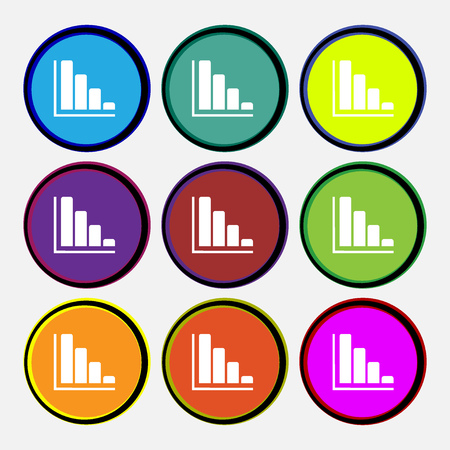 economic forecast: Infographic icon sign. Nine multi colored round buttons. Vector illustration