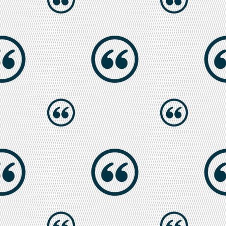 inverted: Double quotes icon sign. Seamless pattern with geometric texture. Vector illustration