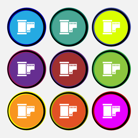 35 mm: 35 mm negative films icon sign. Nine multi colored round buttons. Vector illustration