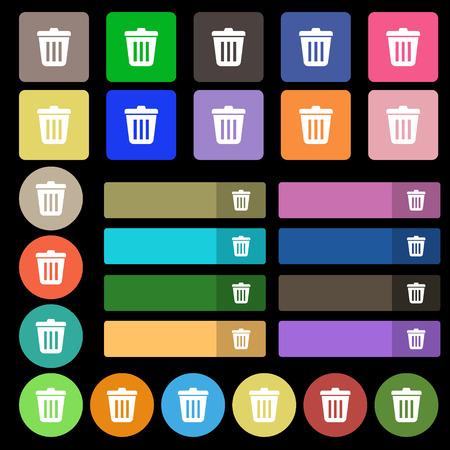 sewage: Bin  icon sign. Set from twenty seven multicolored flat buttons. Vector illustration Illustration