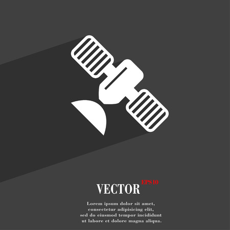 space antenna: satellite symbol Flat modern web design with long shadow and space for your text. Vector illustration Illustration