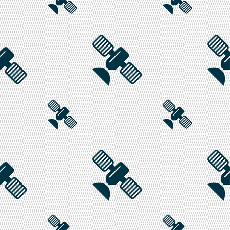 space antenna: satellite icon sign. Seamless pattern with geometric texture. Vector illustration