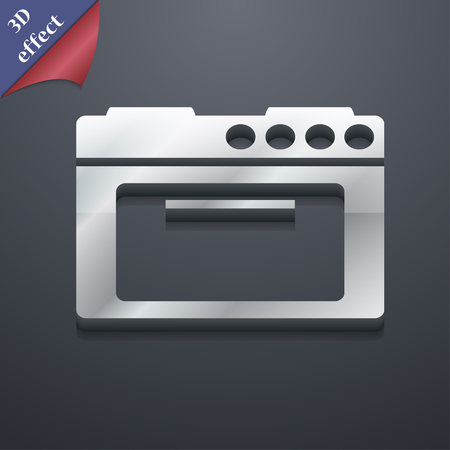 kitchen stove: kitchen stove icon symbol. 3D style. Trendy, modern design with space for your text Vector illustration