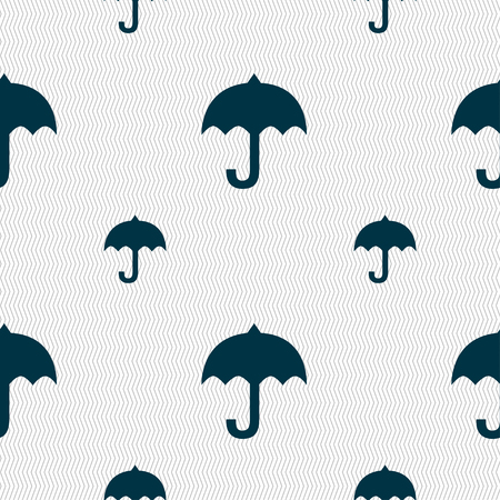 resistant: umbrella icon sign. Seamless pattern with geometric texture. Vector illustration