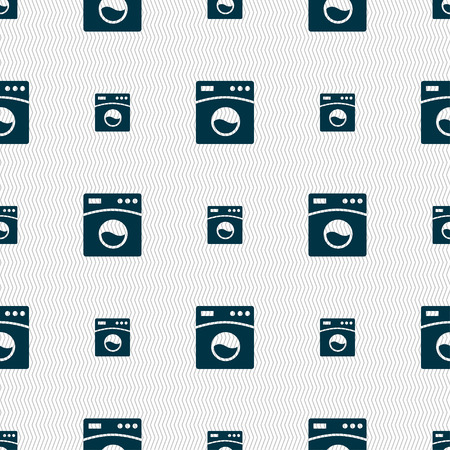 washhouse: Washing machine icon sign. Seamless pattern with geometric texture. Vector illustration Illustration