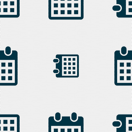 calendar page: calendar page icon sign. Seamless pattern with geometric texture. Vector illustration