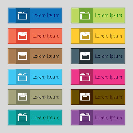 kitchen stove: kitchen stove icon sign. Set of twelve rectangular, colorful, beautiful, high-quality buttons for the site. Vector illustration