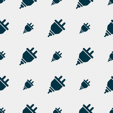 internet connection: plug icon sign. Seamless pattern with geometric texture. Vector illustration