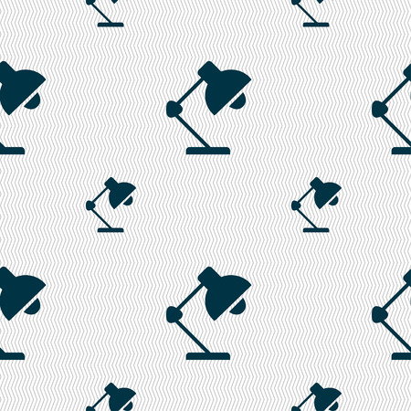 lamplight: Reading-lamp and lighting, illumination icon sign. Seamless pattern with geometric texture. Vector illustration