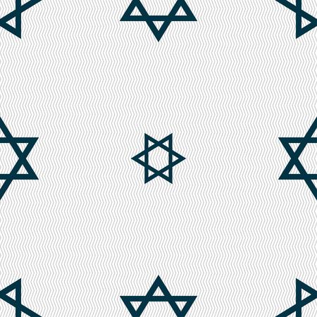 satanic: pentagram icon sign. Seamless pattern with geometric texture. Vector illustration