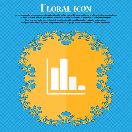 economic forecast: Infographic icon. Floral flat design on a blue abstract background with place for text. Stock Photo