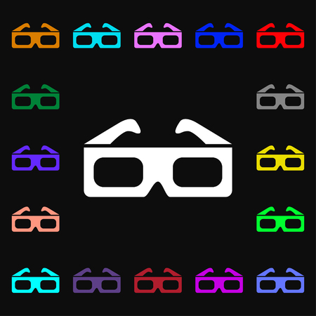 stereoscope: 3d glasses icon sign. Lots of colorful symbols for design. Stock Photo